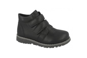 JCDees Boys Round Toe Double Strap Ankle Boots (Black)