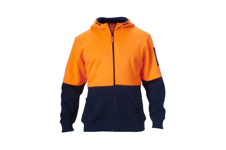 Hard Yakka Hi Vis Two-Tone Brushed Fleece Full Zip Hoodie (Orange/Navy, Size 5XL)