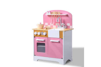 BoPeep Kids Wooden Kitchen Pretend Play Set Cooking Toys Toddlers Home Cookware