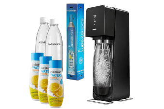 SodaStream Source Element Soda Drinks Maker Black w/3x Lemon Squash 440ml Mix