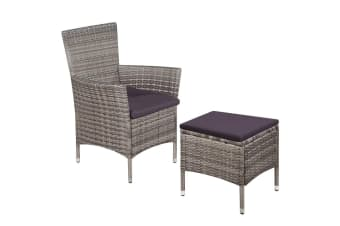 vidaXL Outdoor Chair and Stool with Cushions Poly Rattan Grey
