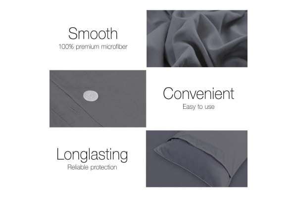 Giselle Bedding Plain Dyed Quilt Cover Set (Queen/Charcoal)