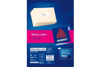 AVERY INKJET LABELJ8159-50 50 SHEETS