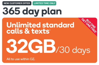 Kogan Mobile Prepaid Voucher Code: EXTRA LARGE (365 Days | 32GB Per 30 Days) - Buy One Get One Free
