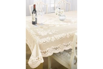The Fine Dining Classics Collection By Emma Barclay Chantal Lace Tablecloth (5 Sizes) (Cream)