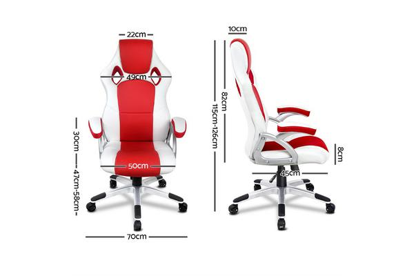 PU Leather Padded Office Computer Chair (Red)
