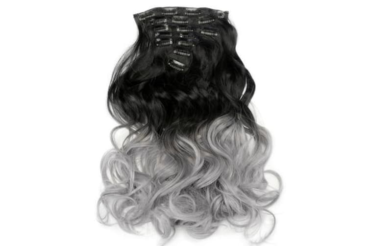 """Two Tone Ombre Gray Curly Hair 7Piece 16Clips 24"""" Hair Extension 08"""
