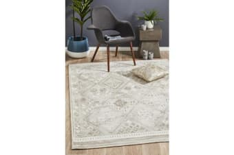 Lydia Warm Silver & Ivory Hand Woven Vintage Look Rug 225x155cm