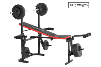 Powertrain Home Gym Workout Bench Press with 13kg Weights