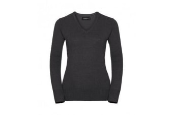 Russell Collection Ladies/Womens V-Neck Knitted Pullover Sweatshirt (Charcoal Marl) (3XL)