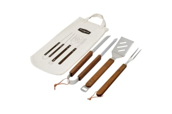 Maverick BBQ Tool Set 3PC Stainless Steel Wooden Acacia Barbecue Grilling Tools
