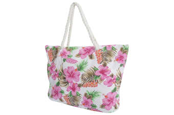 FLOSO Womens/Ladies Floral Patterned Canvas Summer Handbag (White)