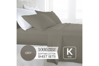 King Size Grey 1000TC Egyptian Cotton Sheet Set
