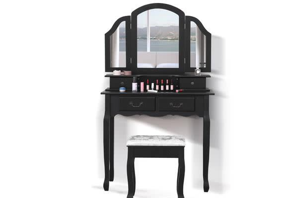 4-Drawer Dressing Table & Stool Set with 3 Mirrors BLACK