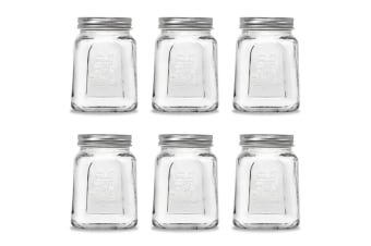 6pc Modena 475ml Square Food Jars/Canisters w/ Airtight Lids Home Storage Clear