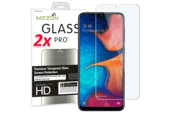 [2 Pack] MEZON Crystal Clear Premium 9H HD Tempered Glass Screen Protector for Samsung Galaxy A20 – Case Friendly, Shock Absorption