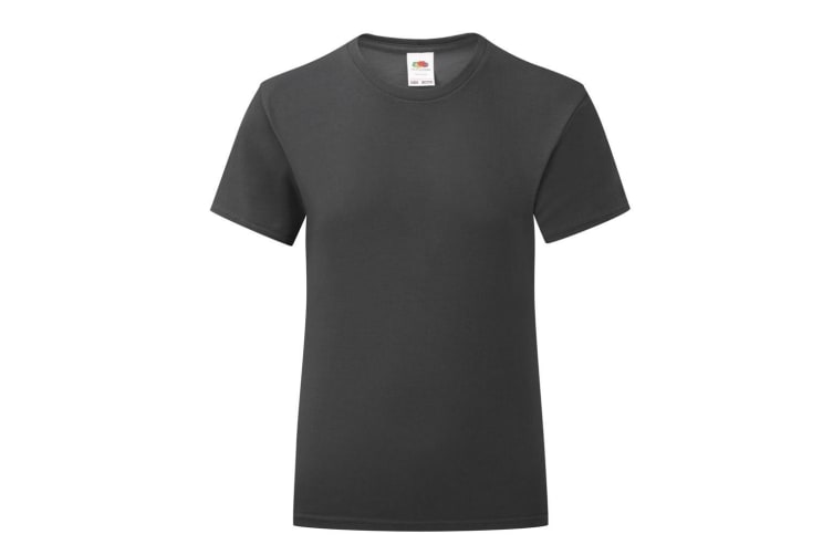Fruit Of The Loom Girls Iconic T-Shirt (Black) (3-4 Years)