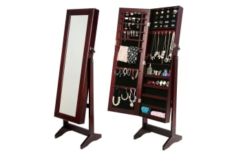 146cm Mirror Jewellery Cabinet LUVO - WALNUT