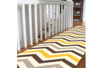 Flat Weave Chevron Runner Rug Yellow Brown