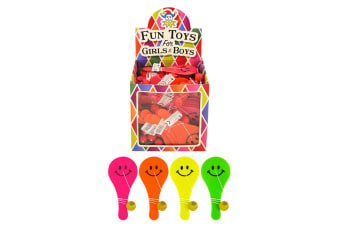 Henbrandt Childrens/Kids Smiley Paddle Bat - Assorted Colours (Pack Of 96) (Multicoloured) (One Size)