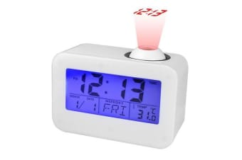 Talking Projection Clock Blue Backlight Calendar Temperature Display White 806