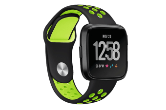 Silicone Sport Band With Ventilation Holes Replacement Straps For Fitbit Versa Smartwatch Black Green