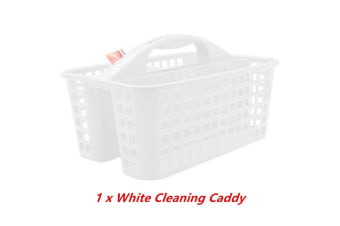 White Plastic Cleaning Caddy 3 Compartment Tool Box Carry Aerated Divided Storage