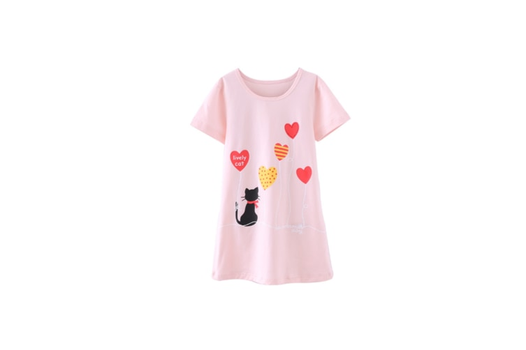 Nightgowns For Girls Cotton Pajamas Dresses Short Sleeve - Pink Pink 160Cm