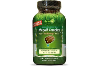 Irwin Naturals Mega B Complex with Quick Energy MCT's - 60 Liquid Soft-Gels