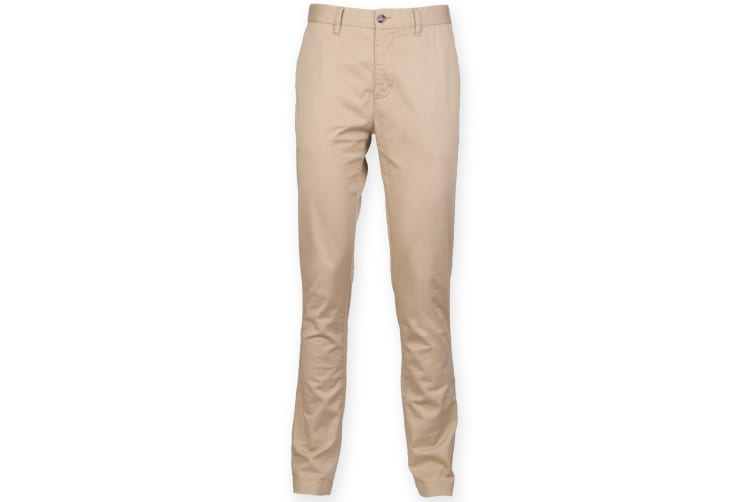 Front Row Mens Cotton Rich Stretch Chino Trousers (Stone) (40L)