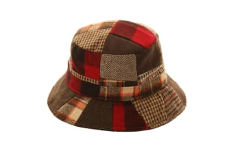 Adults Unisex Patchwork Wool Blend Bucket Hat (Red)