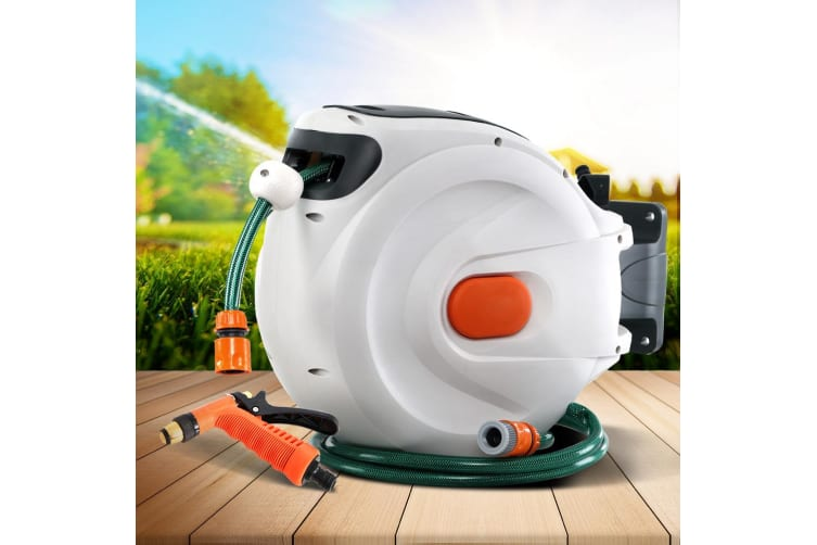 30M Retractable Hose Reel Garden Water Brass Spray Gun Auto Rewind