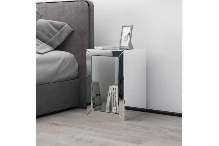 Mirrored Bedside Table Side Lamp Table Nightstand Mirror Bedroom Furniture with Storage