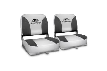 Seamanship Set of 2 Swivel Folding Boat Seats (Grey)