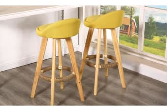 2 Pcs Wooden Bar Stools Swivel Padded Fabric Seat Dining Chairs Yellow Lime
