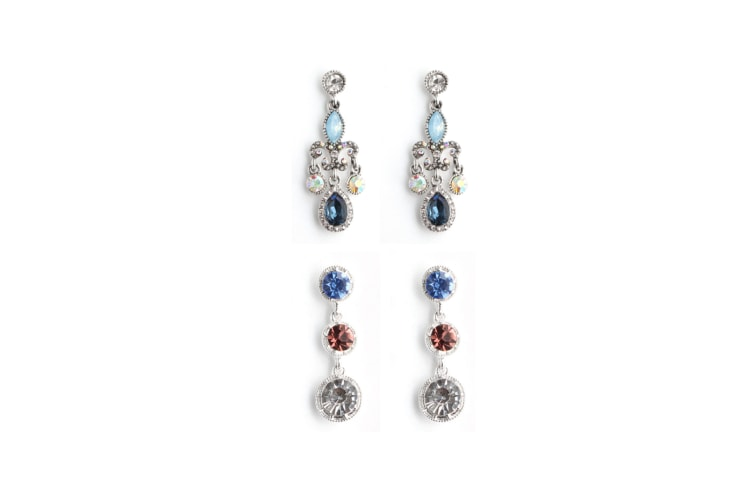 2 Pairs Retro Earrings Simple Fashion Personality Long Earrings - Silver Silver