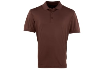Premier Mens Coolchecker Pique Short Sleeve Polo T-Shirt (Brown)