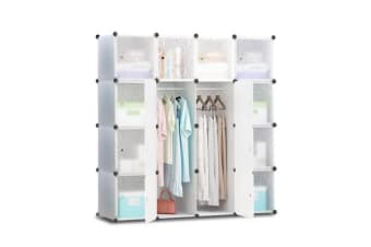 16 Cube Portable Storage Cabinet Wardrobe White