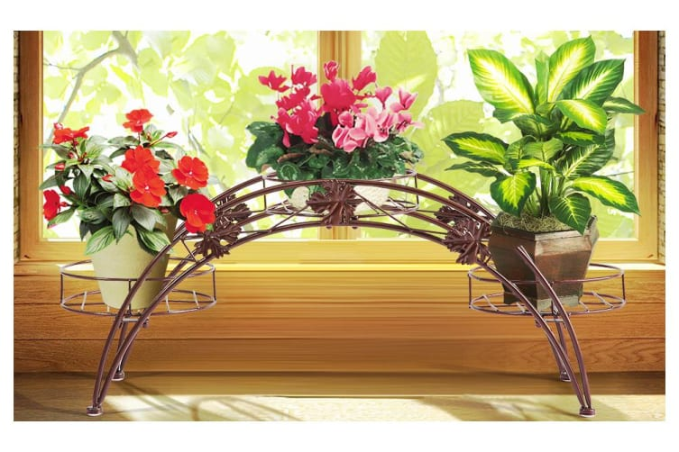 Outdoor Indoor Pot Plant Stand Garden Decor Flower Rack Wrought Iron Arch Black