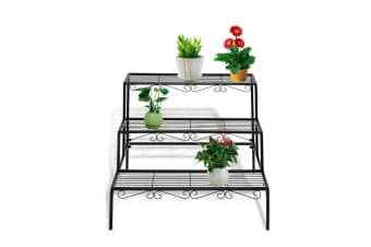 Outdoor Indoor Garden Plant Stand Metal Black Flower Pot 3 Tier Corner Shelf