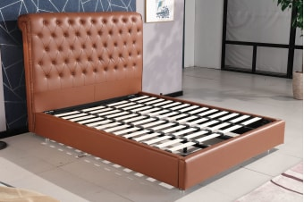 Empire Chesterfield Leatherette Bed Brown