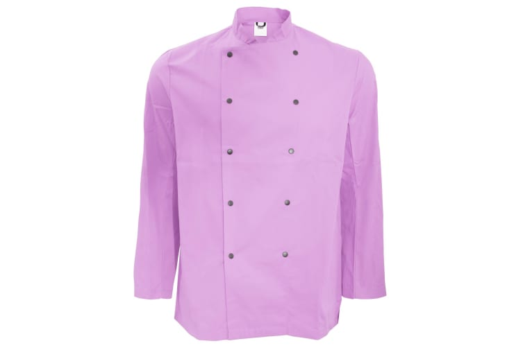 Dennys Unisex Long Sleeve Stud Button Chef Jacket (Orchid) (2XL)