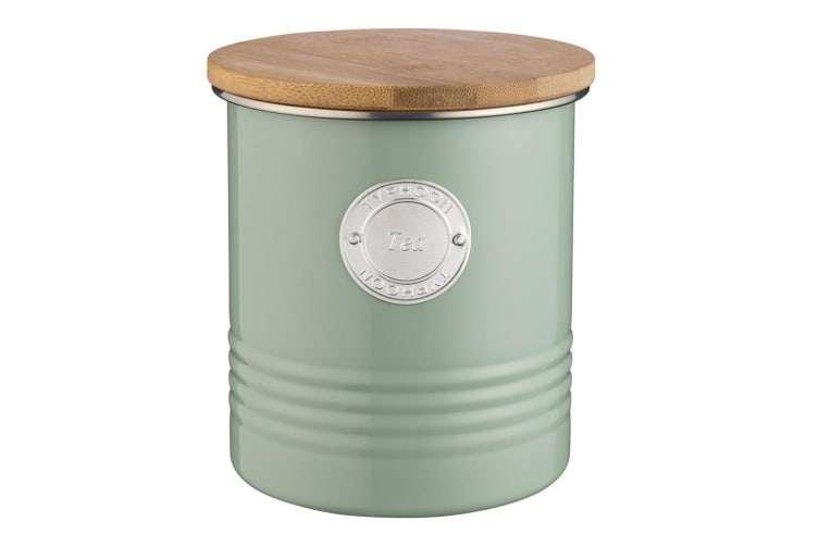 Typhoon 1L Sage Metal Tin Tea Canister Container Storage Jar w  Bamboo Wood Lid