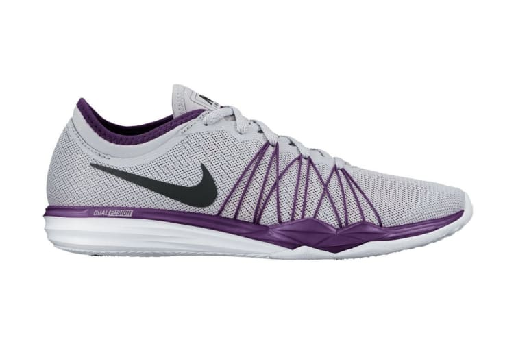 Nike Women's Dual Fusion TR HIT Training Shoe (Grey/Grape, Size 6 US)