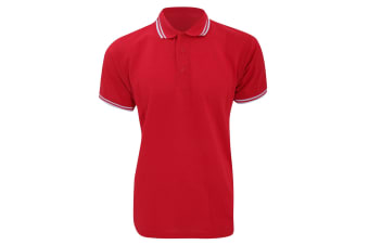 Kustom Kit Mens Tipped Piqué Short Sleeve Polo Shirt (Red/White) (M)