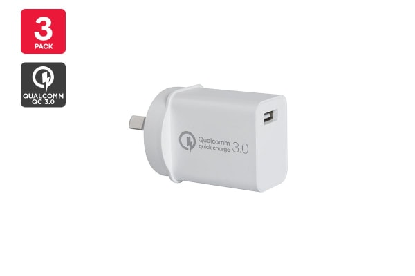 Kogan 18W USB Wall Charger with QC 3.0 - 3 Pack