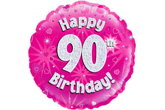 Oaktree 18 Inch Circle Happy 90th Birthday Foil Balloon (Pink)