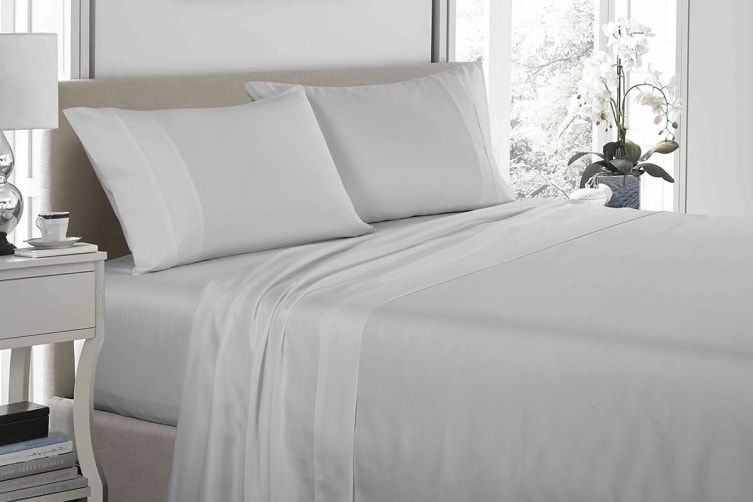 Royal Comfort 1200TC Ultrasoft Microfibre Bed Sheet Set (Double, Silver)