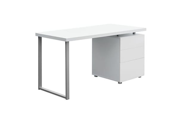 Office Study Computer Desk with 3 Drawer Cabinet (White)