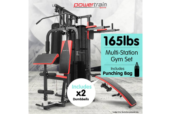 Multi station home gym with punching bag lbs kogan